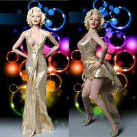 1/6 Scale Sexy pose Lady Female Goddess Marilyn Monroe Head Dress Suit & Shoes F12Largest Girl Breast Collectible Action Figure