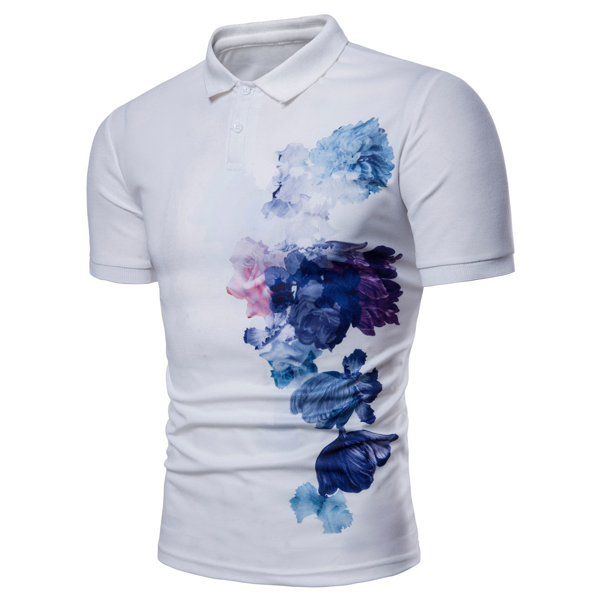 Ink Flower Printing 2018 Summer New Men's   Polo   Shirt Brands Homme Slim Short Sleeve Camisa   Polo   Men Casual   Polos   Shirts PL15