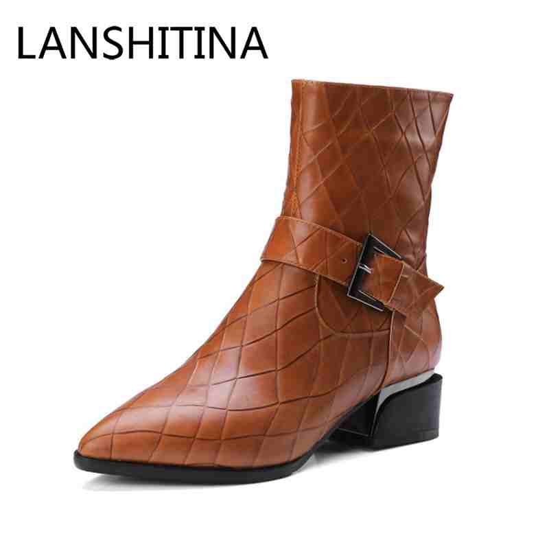 British style women shoes women boots winter genuine leather boots low heels pointed toe shoes embossed leather ankle boots цена 2017
