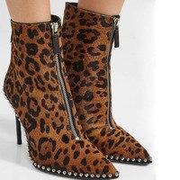2018 на осень зиму Женские ботинки мода лошадь мех тонкий Обувь на высоком каблуке ботильоны с леопардовым принтом женская обувь пикантные са
