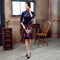 2017 New Women Cheongsams Female Cotton Velour Oriental Evening Dress And For Ladies Daily Life Women Printing Cheongsam
