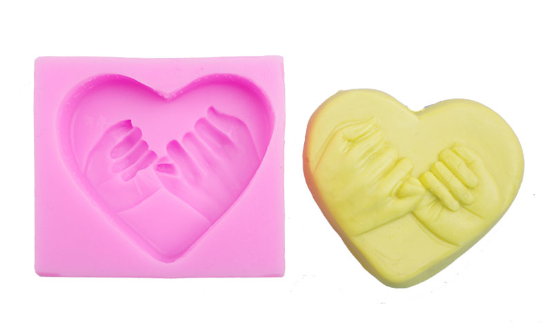 holding hands Heart-shaped silicon cake mold soap mold freeshipping TW-434
