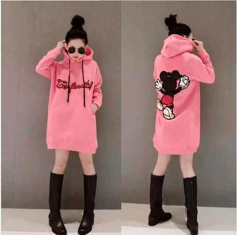 Fashion Autumn Plus Size Women Dress Sweet Style Thicker Loose Long Sleeve Round Thick Hoodie Long
