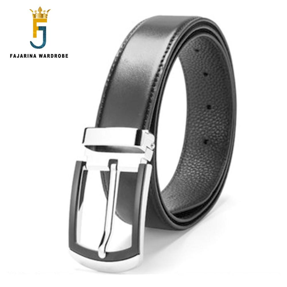 FAJARINA New Design Zinc Alloy Buckle Metal Belts Pure Black Cowhide Leather Belts for Men Jeans Compared Accessories LUFJ701