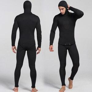 Image 1 - 남자를위한 새로운 3mm 네오프렌 다이빙 슈트 수영 서핑 점프 슈트 서핑 따뜻한 잠수복 서스펜더 바지와 자켓 2 개/대