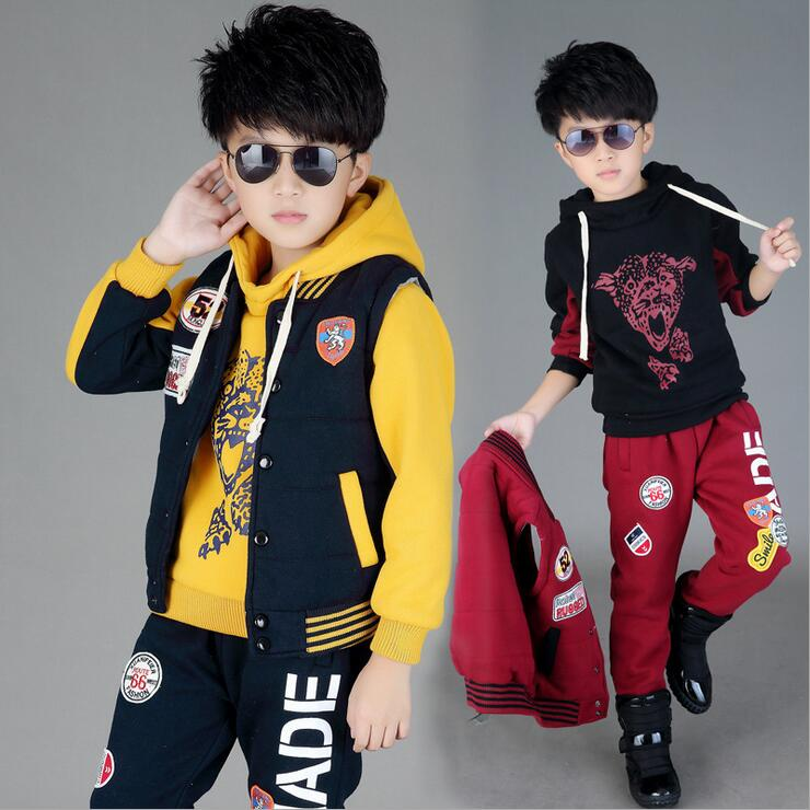 Winter Boys Clothing Sets Warm Sports Tracksuits For A Boy Three-piece Vest Suit Ensemble Garcon New Year costumes for children