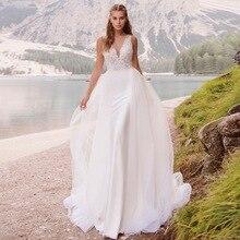 Custom Made V Neck Bead A Line Bridal Dress Vestidos De Novia 2019 Elegant Sleeveless Wedding Dress