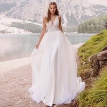 Nach Maß V ausschnitt Perlen A linie Braut Kleid Vestidos De Novia 2019 Elegante Ärmelloses Brautkleid