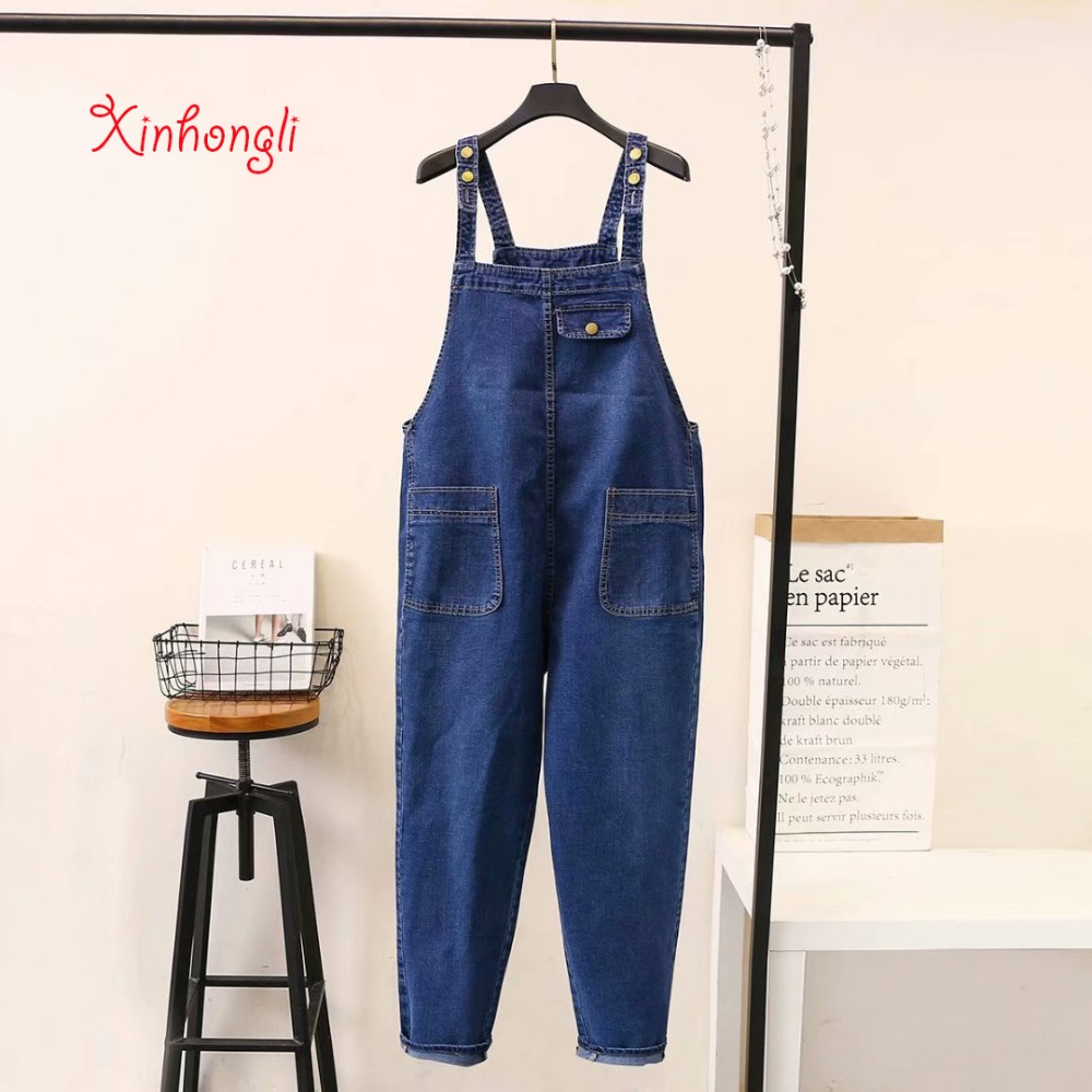 Plus size loose Ankle-length women jeans Jumpsuits 2019 spring NEW casual ladies button Denim Rompers female black blue sky