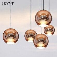 Современные подвесные светильники IKVVT, медный, серебристый, золотой стеклянный шар, внутреннее освещение для ресторана, гостиной, декоративное освещение E27 220 В