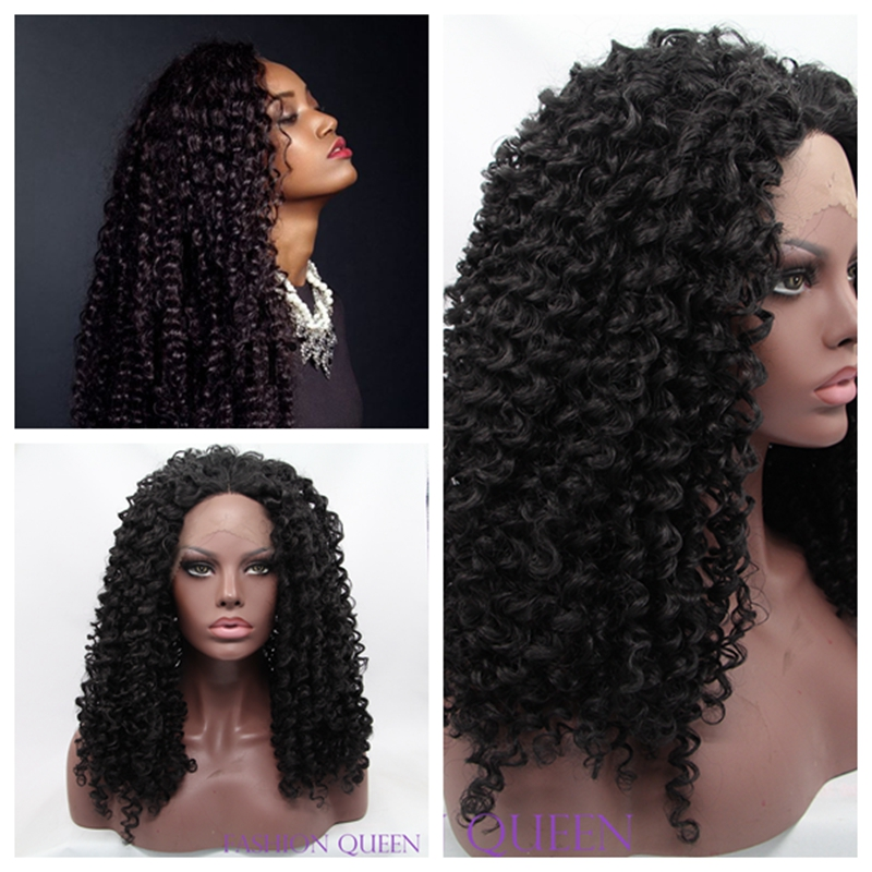 ФОТО New synthetic lace front wig heat resistant hair kinky curly synthetic wigs short hair for black women african american wig