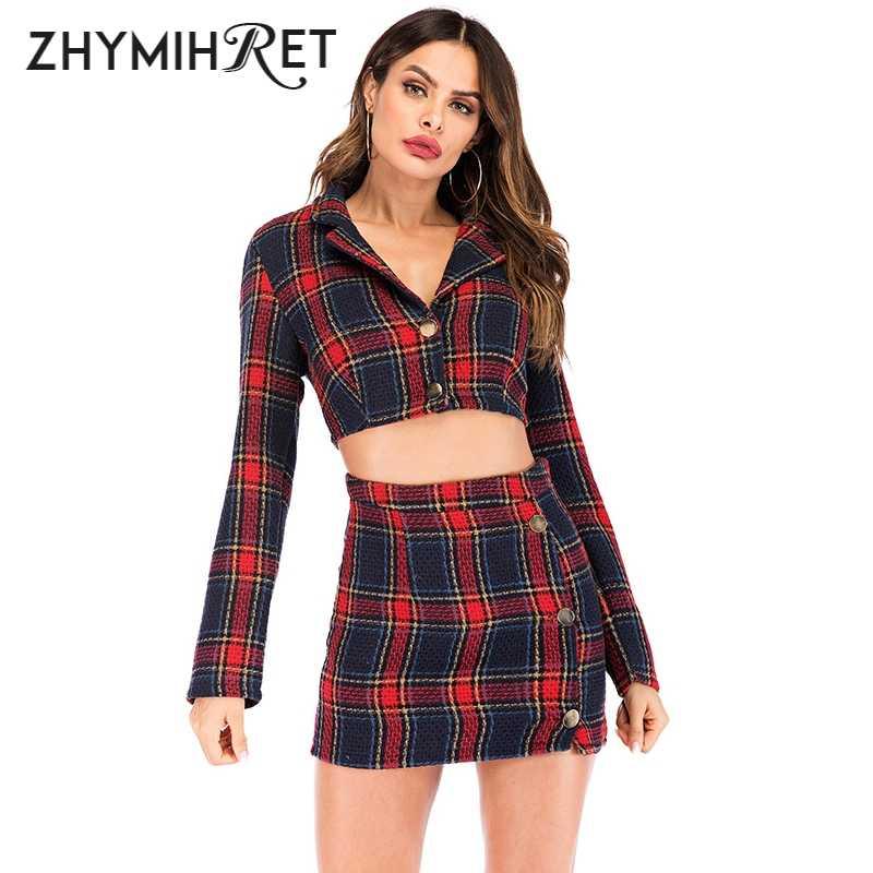 zhymihret automne hiver 2 pieces ensemble robe a carreaux haut court femmes a manches longues veste et jupe crayon deux pieces ensemble correspondant