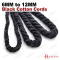 (30181)6mm 8mm 10mm 12mm Black 100% Cotton Three Strands Twisted Corps Rope Diy Findings Accessories 5 Meters