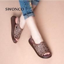 SWONCO Women's Sandals Summer Genuine Leather Vintage Style Laides Shoes Flat Sandals Women 2018 Comfortable Mother Shoes