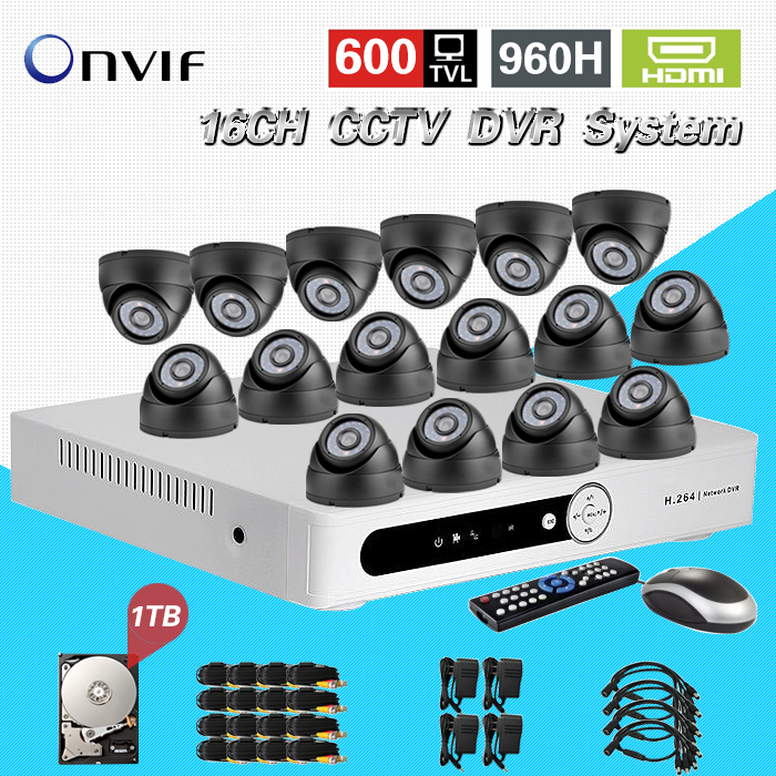 TEATE Home CCTV 16ch security DVR with 1tb hard disk indoor Night vision Camera Kit 16ch Color Video Surveillance System CK-014  16ch video camera recorder dvr with 16pcs outdoor waterproof ir day night vision surveillance camera 16ch security sytem dvr kit
