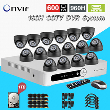 TEATE Home CCTV 16ch security DVR with 1tb hard disk indoor Night vision Camera Kit 16ch Color Video Surveillance System CK-014