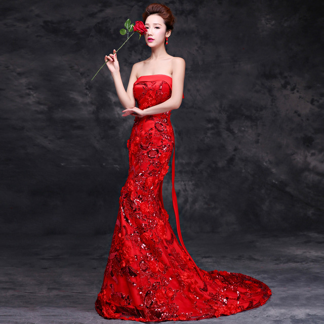 2016 Luxury Red Trailing Evening Dress Mermaid Ball Gown Chinese Oriental Dresses Qipao Long Cheongsam Awards Grand Formal Dress