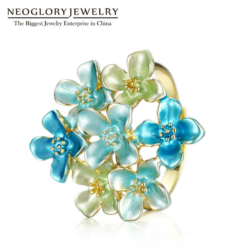 Neoglory Colorful Rings Enamel Flower Adjustable Wedding Rings Gifts For Women Girl Fashion Jewelry 2018 New