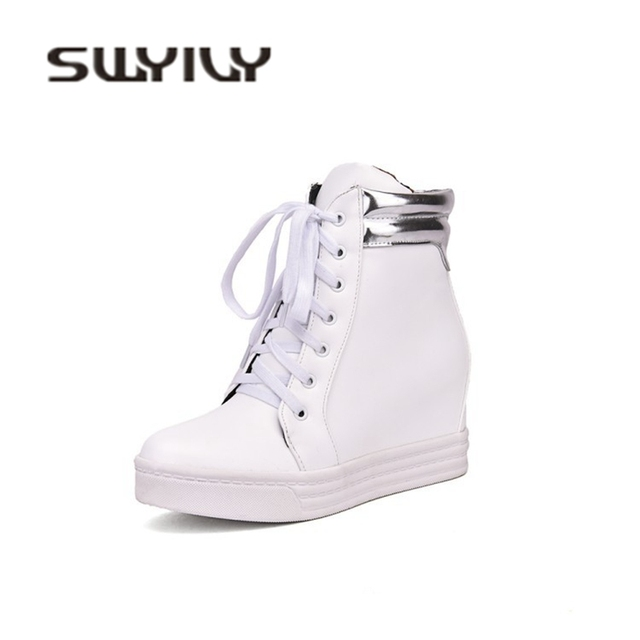 SWYIVY White Sneakers Shoes Woman Wedge Snow Boots High Top Female Casual  Shoes 2018 New 34 Big Size Sneakers Winter Waterproof 32765635b3ce