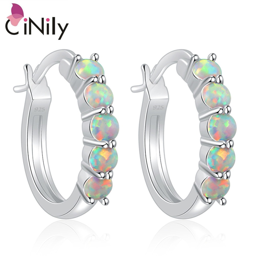 CiNily Pink & Blue & White Fire Opal Hoop Earrings With Stone Silver Plated Small Round Circle Earring Korean Jewelry Girl Woman