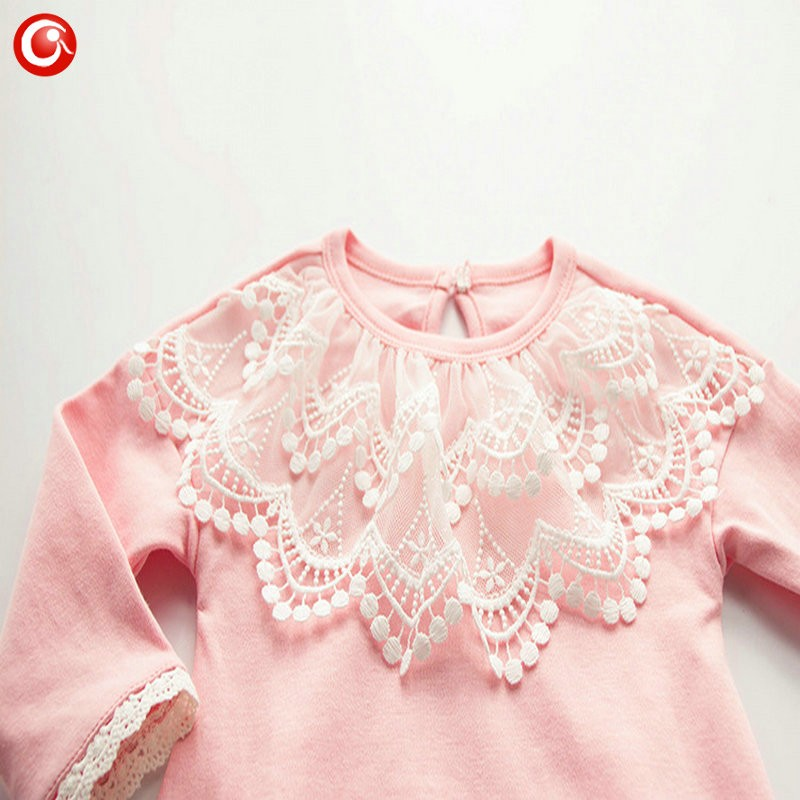 2016 Casual Pink Baby Bodysuit With Lace Princess Newborn Girls Cotton Long Sleeve Body Clothes Infant Underwear For Christmas (3)