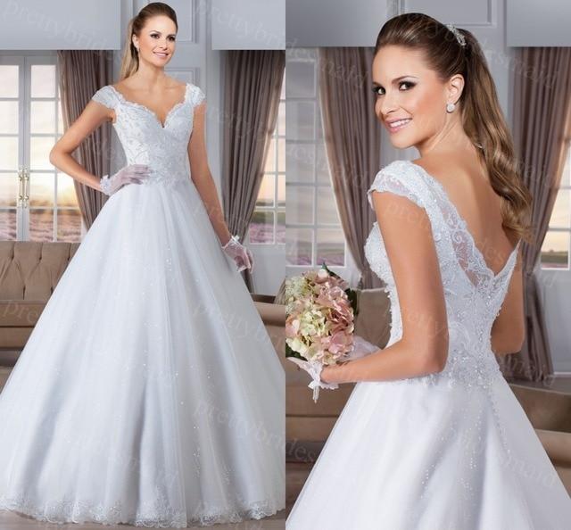Brillantes vestidos de novias Con Cuello En V vestido de Bola Sin Respaldo elegante vestido de novia 2015 vestidos de Novia robe de mariage vestido de novia