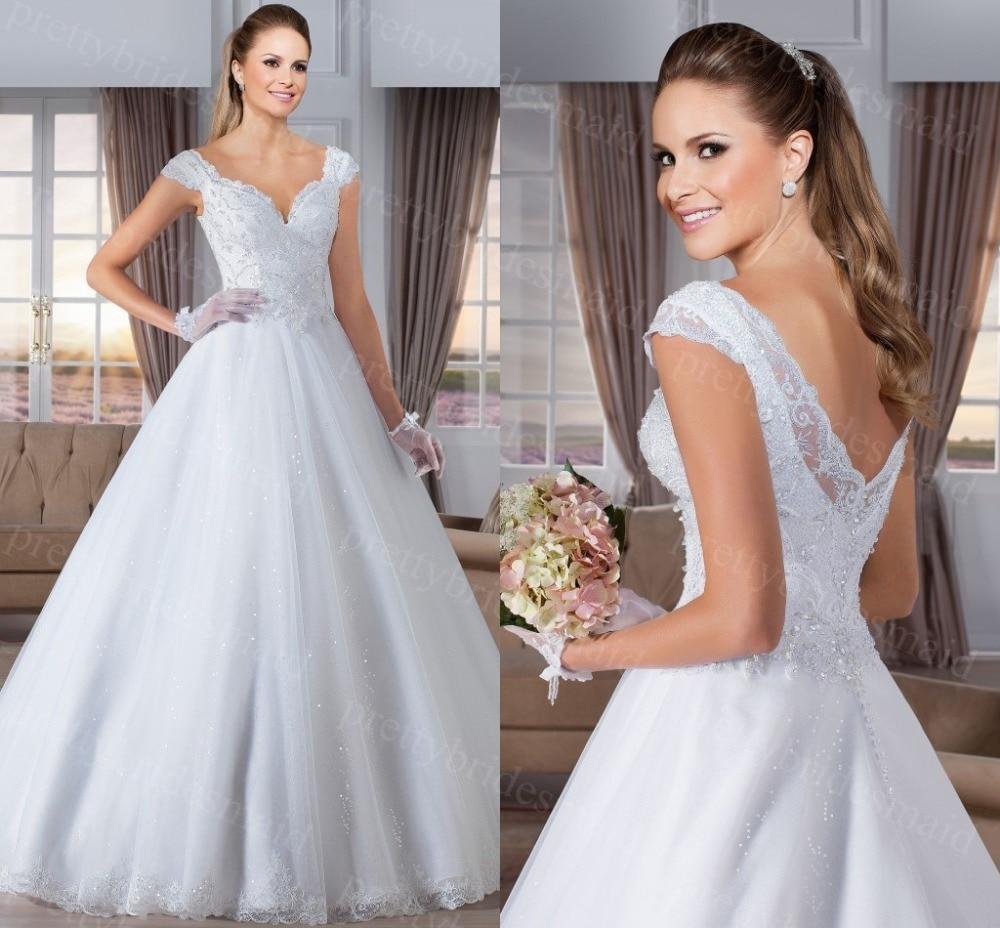 Shining Vestidos De Novias V Neck Ball Gown Backless Elegant Wedding Dress 2015 Bride Dresses