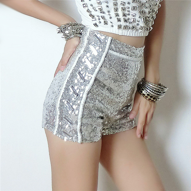 Sexy Silver Sequin Shorts Disco Shorts Women Clubwear High Waist Booty Shorts Hiphop Dance Short Taille Haute