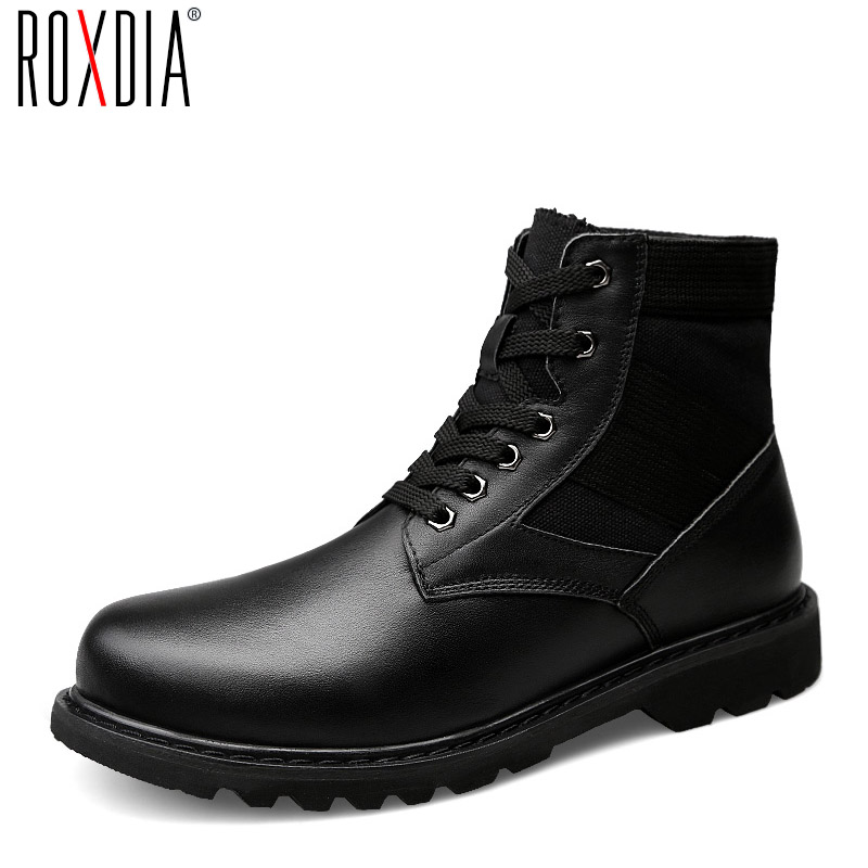 ROXDIA men boots mens shoes snow winter warm genuine leather with canvas black sprig autumn boot plus size 39-48 RXM056 цены онлайн