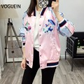 VOGUE! N New Womens Ladies Denim Bordado Mix Yokosuka Sukajan Bombardeiro Casaco Jaqueta Outwear Rosa Patchwork