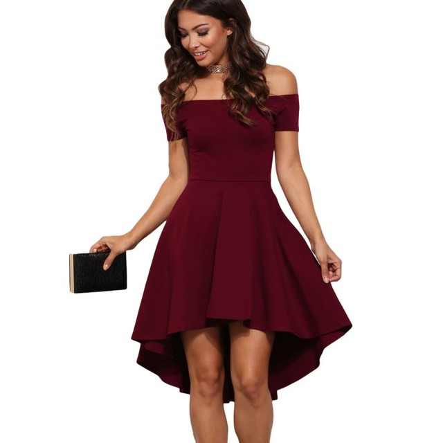 ccf000549dc79 US $19.05 25% OFF|2017 Sexy burgundy dress short off shoulder skater style  clothes nightclub high low fashion elegant dresses for women SA61346-in ...