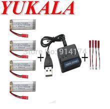 Yukala h07n u818a 6039 rc quadcopter 3.7ボルト500 mahリチウムポリマー電池* 4ピース 充電器ケース送料無料