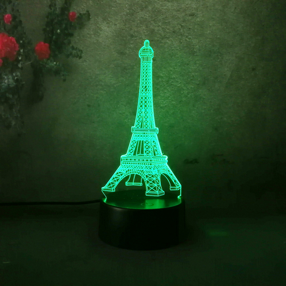 Lighting Lamp: Free Shipping New 2017 Home Decoration 3D Eiffel Tower LED