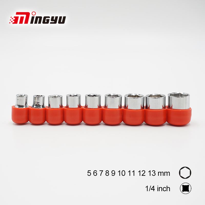 1/4 Socket Wrench Head Set with Holder 6-13mm Diameter Double End 6 Points Nut Removal Hand Tools For Ratchet Wrench