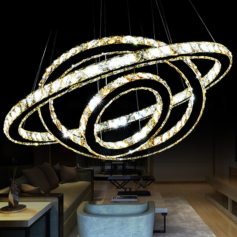 Chrome Chandelier CrystalDiamond Ring LED Lamp Stainless Steel Hanging Light Fixtures Adjustable Cristal LED Luster chandeliers title=