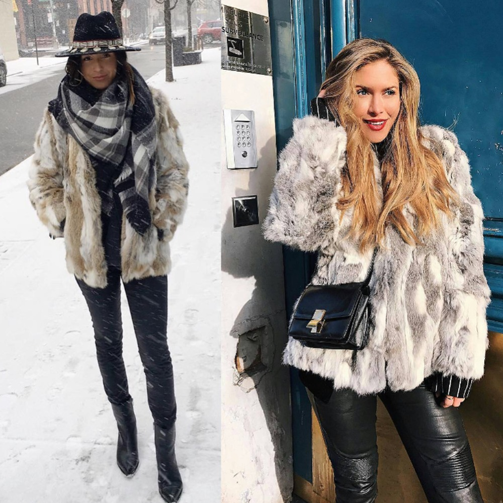 New Winter Fashion Trendy Real Fur Coat For Women Pieces Of Natural Rabbit Fur Coats Plus Size Genuine Leather Mid-long Fur coat