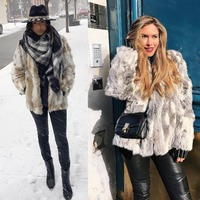 New Winter Fashion Trendy Real Fur Coat For Women Pieces Of Natural Rabbit Fur Coats Plus Size Genuine Leather Mid long Fur coat