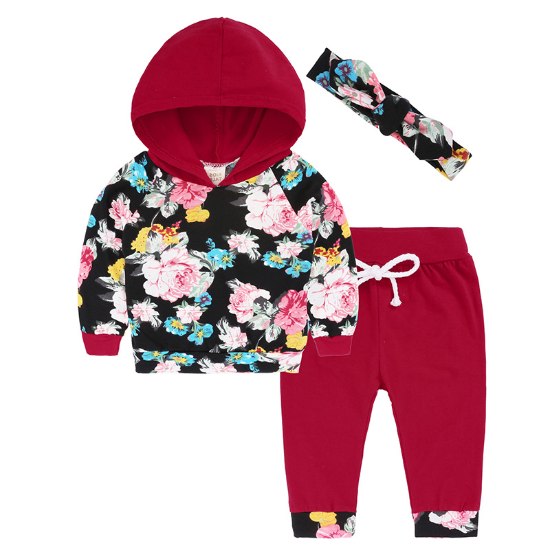 Autumn Baby Girls Clothes Newborn Infant Black Hooded Sweatshirt Tops + Floral Pants 2pcs Outfits Tracksuit Kids Clothing Set