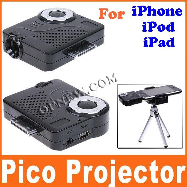Handheld Portable Mini Projector for Apple iPhone 4 4S iPod iPad 3 with Tripod freeshipping