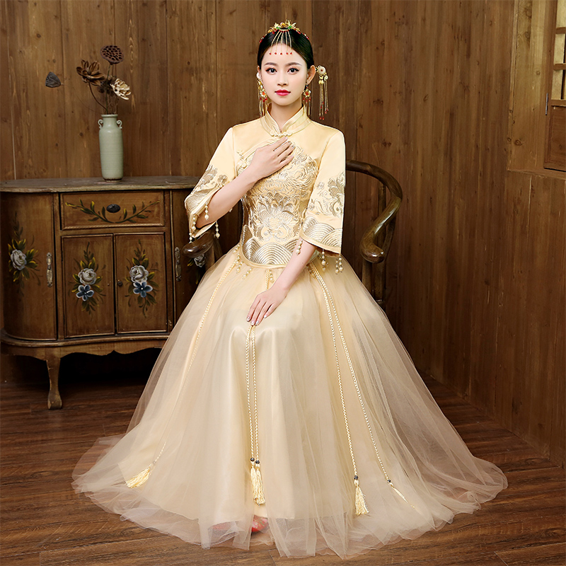 Champagne Novelty Chinese Lady Wedding Mesh Dress Classic Oriental Bride Qipao Vintage Embroidery Cheongsam Suit Toast Clothes