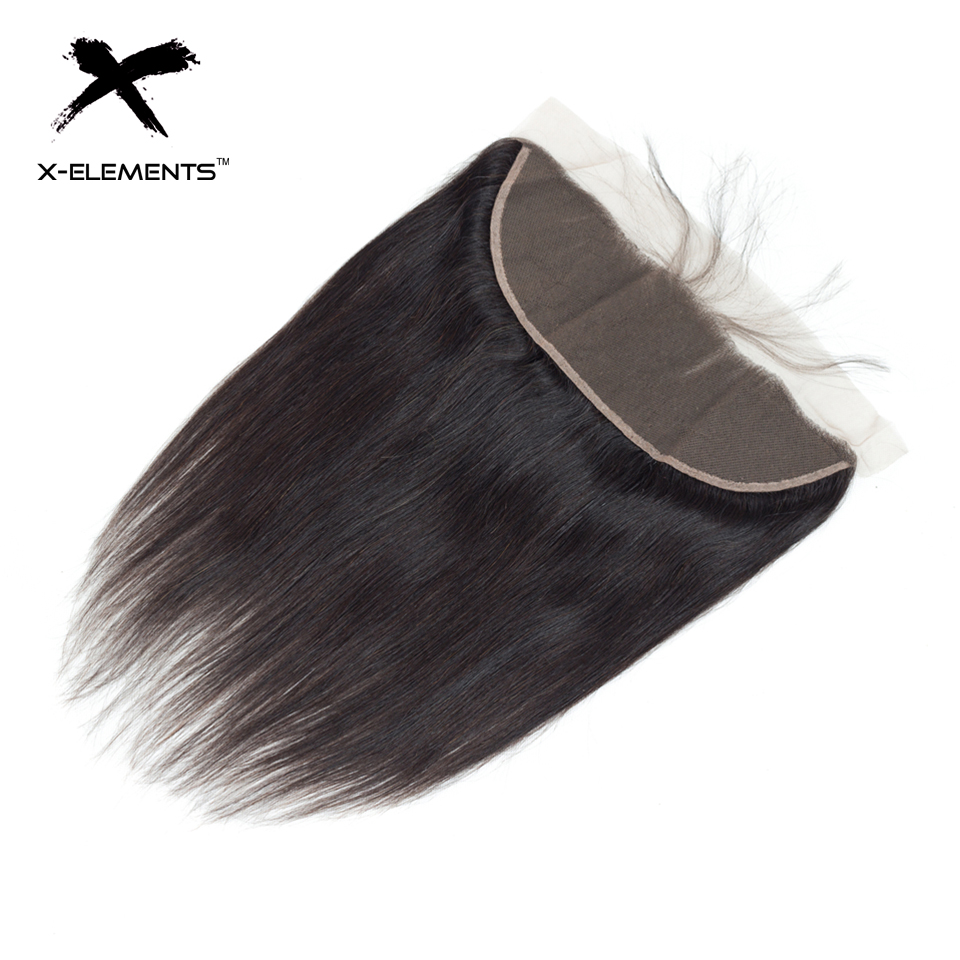 X-Elements Brazilian Straight Frontal 100% Human Hair 13x4 Lace Frontal With Baby Hair Non-Remy Natural Color Hair Extensions (24)