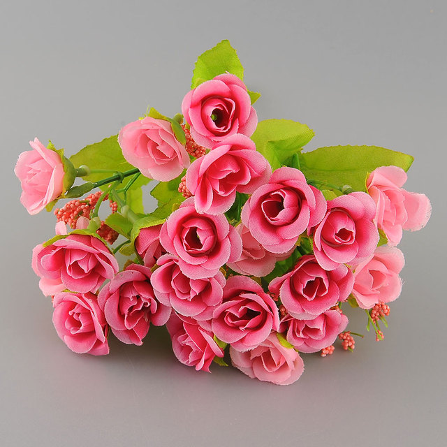 New Beautiful Elegant 21 Heads Artificial Mini Rose Bud Silk Flower Arrangement Party Home Garden Decor