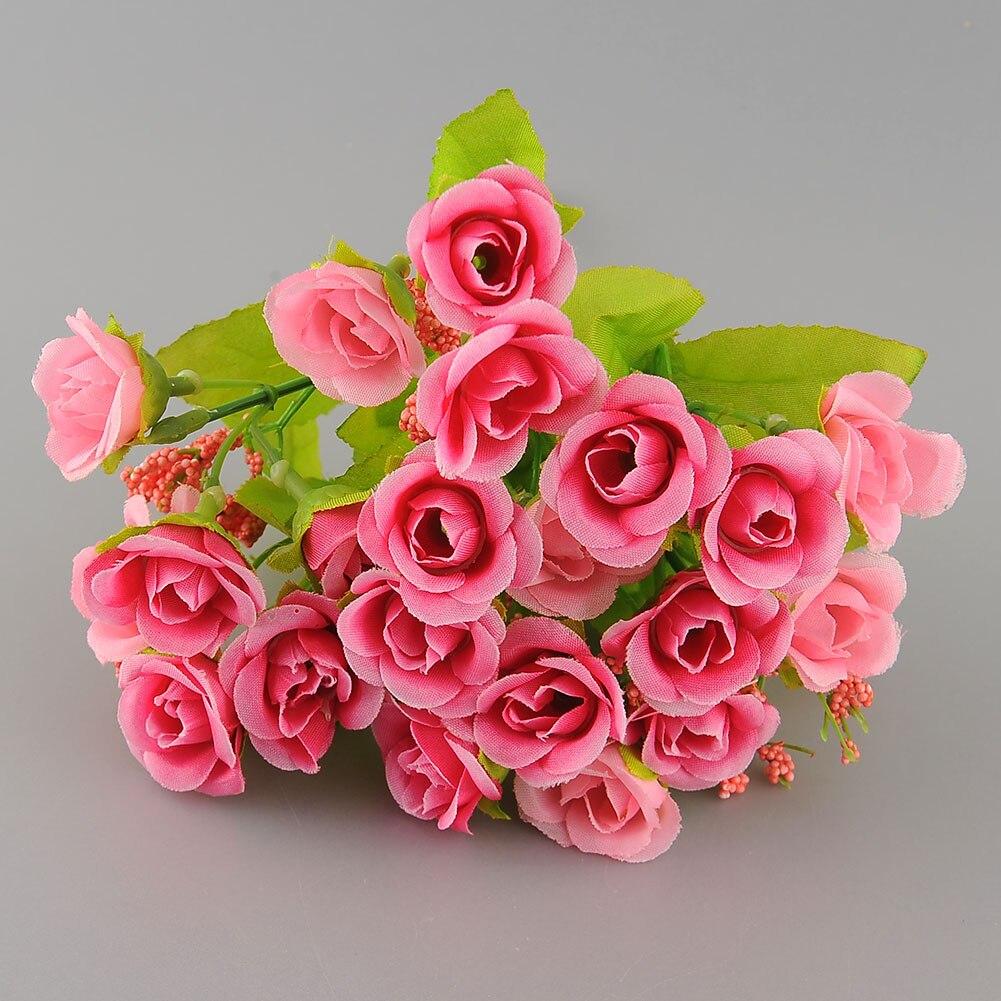 nueva hermosa elegante jefes arreglo de flores de seda artificial mini rose bud party home