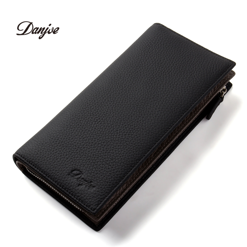 DANJUE New Arrival Men Wallets Long Genuine Leather Brand Big Capacity Purse First Layer Cowhide Man Fashion Day Clutches Bag kavis men long wallets genuine leather luxury brand designer purse men first layer cowhide men day clutches bag