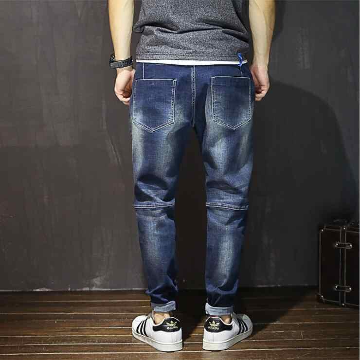 Streetwear Mens Strappato I Jeans Biker Homme Degli Uomini Del Motociclo di Modo Slim Fit Moto Denim Pantaloni Pantaloni Pantaloni Dei Jeans Più Il Formato 28 -48