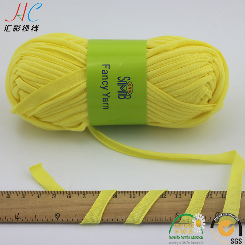 Jingxing Oeko Tex Fancy Ribbon Yarn Manufacturer, Hand Knitting Spaghetti Yarn, 50g Skeins Hand Craft 100 Cotton T Shirt Yarn