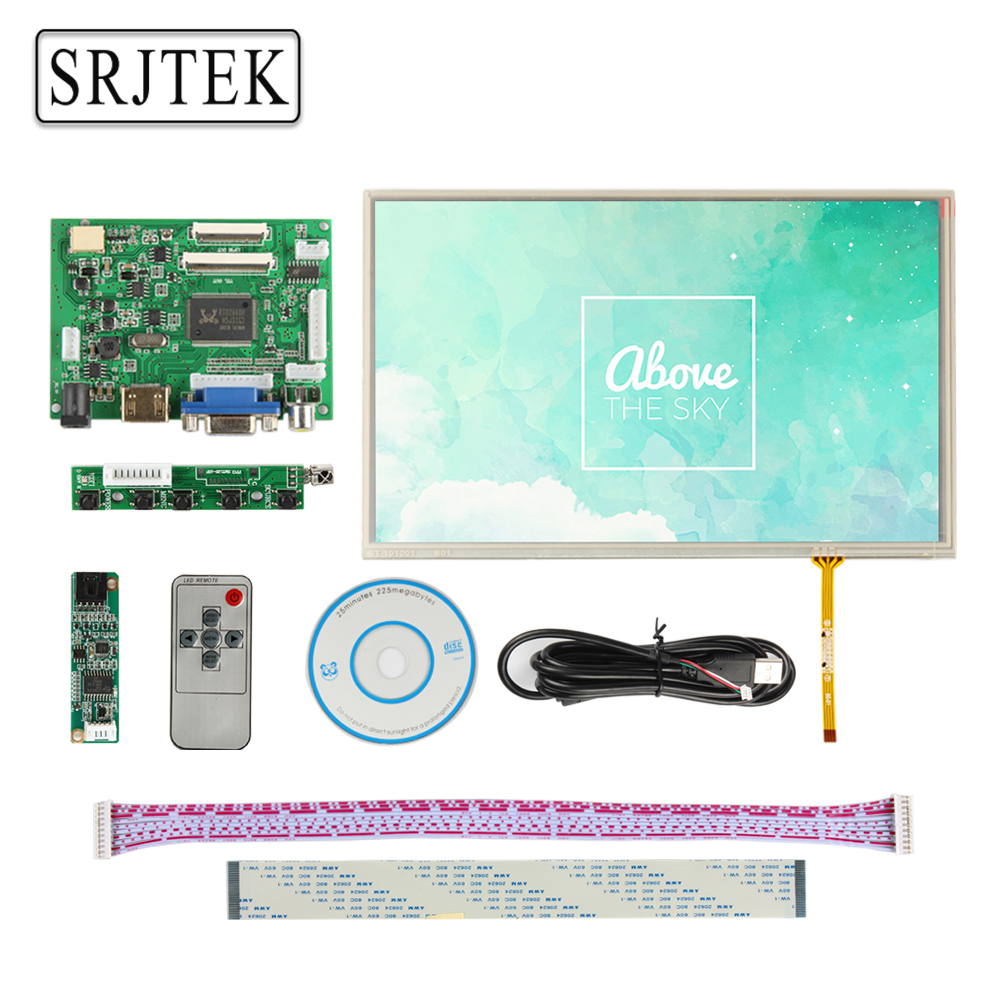 Srjtek 10.1 IPS for Raspberry Pi Monitor 1280*800 TFT EJ101IA-01G HD LCD Display Touch Screen Remote Driver Board HDMI 2AV VGA skylarpu hdmi vga control driver board 7inch at070tn90 800x480 lcd display touch screen for raspberry pi free shipping