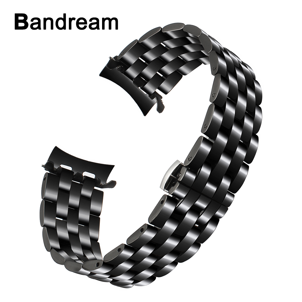 22mm Curved End Stainless Steel Watchband for Samsung Gear S3 Classic Frontier R760 R770 Watch Band Wrist Metal Strap Bracelet silicone sport watchband for gear s3 classic frontier 22mm strap for samsung galaxy watch 46mm band replacement strap bracelet