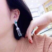 Qi Xuan_Green модные серьги с кисточками S925 посеребренные Белое золото Ручная инкрустация изысканная атмосфера серьги гвоздики рекламные