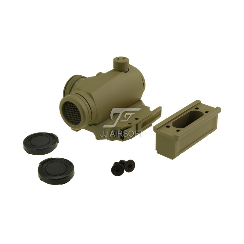 JJ Airsoft Micro 1x24 Red Dot with Killflash / Kill Flash , BOBRO Style High Mount / QD Low Mount and Riser (Tan) jj airsoft 3x magnifier with killflash and xps 3 2 red dot black tan buy one get one free killflash kill flash
